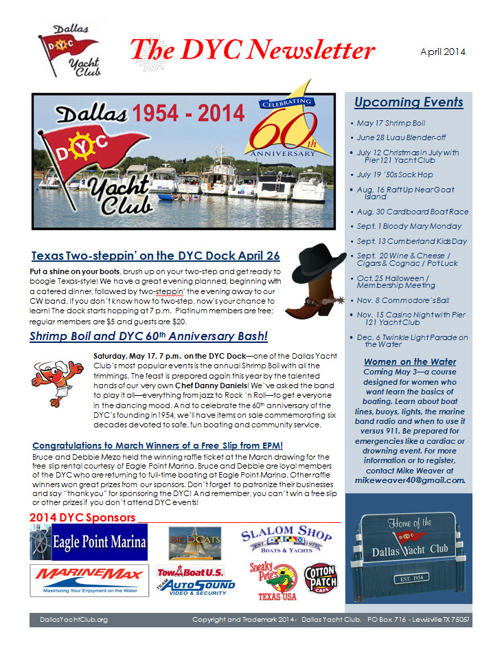 Dallas Yacht Club Newsletter April 2014
