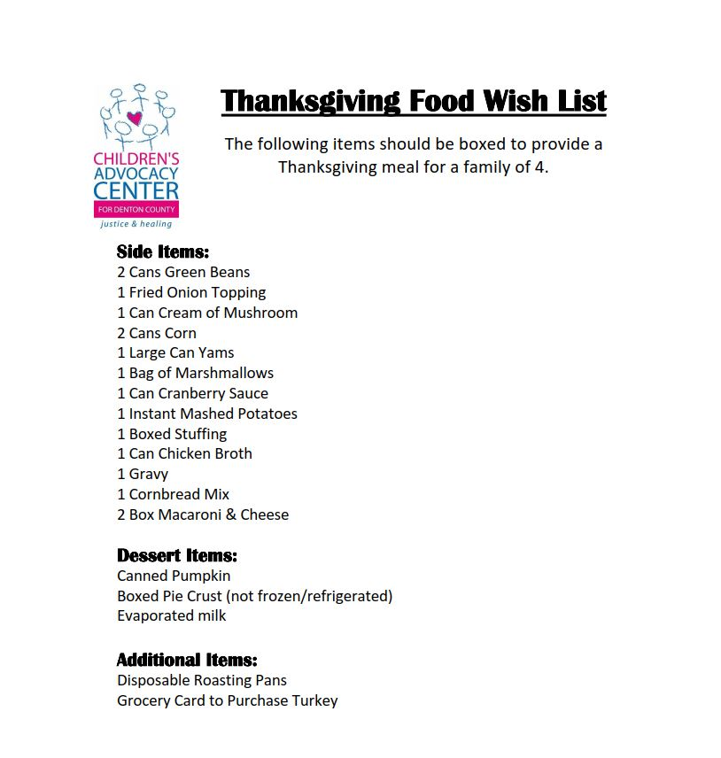 2017 October DYC Thanksgiving Box Donation Requests