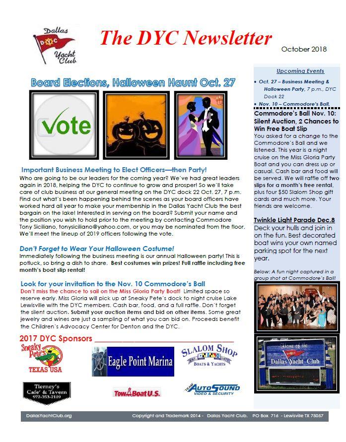October 2018 DYC Newsletter