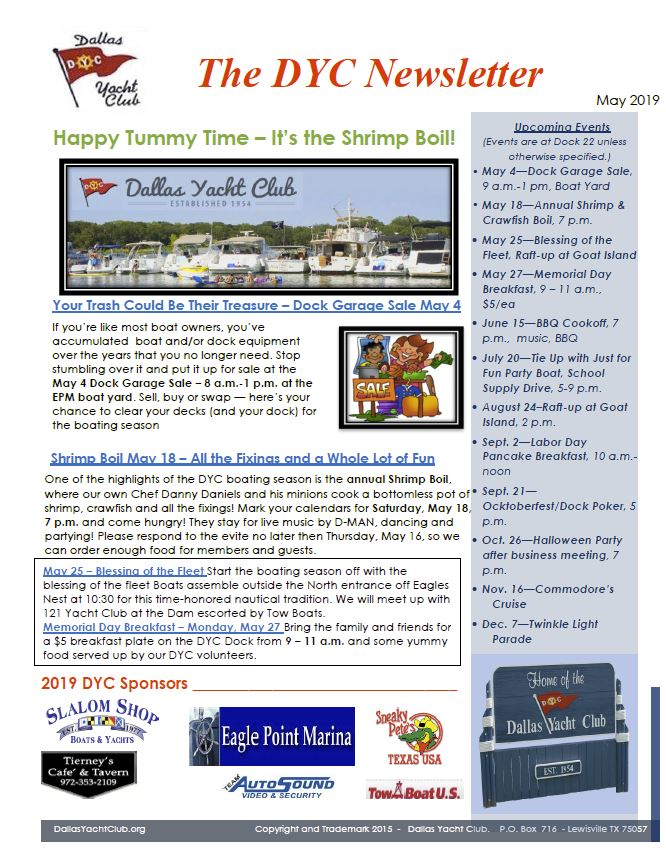 May 2019 DYC Newsletter